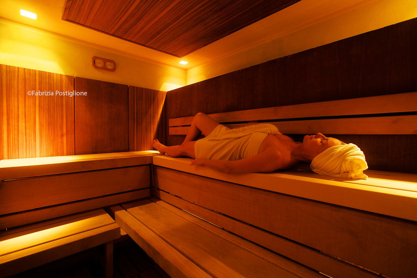 Italy. South Tyrol. Val Gardena Valley. Selva Gardena. Nives Boutique Hotel & Spa. The Finnish Sauna.