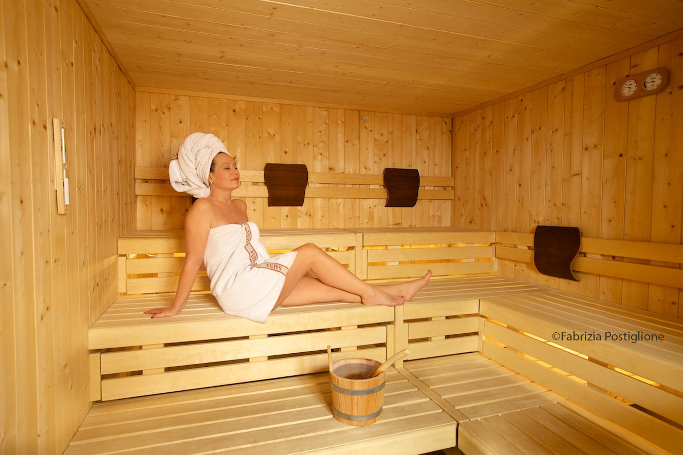 Italy. South Tyrol. Val Gardena Valley. Selva Gardena. Portillo 1966 Hotel & Spa. The Finnish Sauna in the sleek and contemporary Belisana Spa.